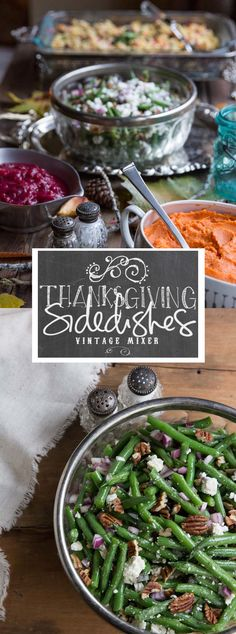 Thanksgiving Side Dish Recipes • Green Beans Salad • theVintageMixer.com