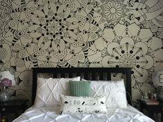 Mandala wall custom drawn with Sharpies makes a great headboard!