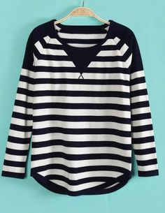 Navy White Striped Long Sleeve Pullover Sweater