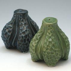 Green & black porcelain carved salt and pepper shaker set