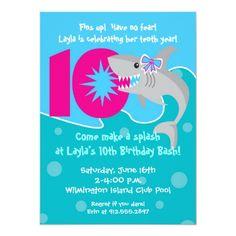Shop Girl Shark Bite Invite- Birthday Party Invitation created by thefineprintstudio. 10th Birthday Invitation, Pool Party Invitations, Invitation Paper, Invitation Wording, Invites, Kids Beach Party, 10th Birthday Parties, Birthday Ideas, Free Birthday