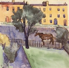 William Scott, Merrion Square, Dublin, 1940, Watercolour and ink on paper, 14.9 x 15.3 cm / 5¾ x 6 in, Private collection