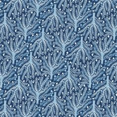 Sashiko Trees - Moody Blues £14/mtr
