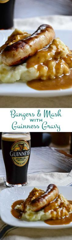 British style bangers and thick creamy mashed potatoes topped with rich flavorful Guinness gravy. Goes great with a pint of Guinness for St. Patty's Day!