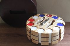 Vintage Poker Set With Chips And Wooden Poker Caddy by TheBlackVinyl, $45.00