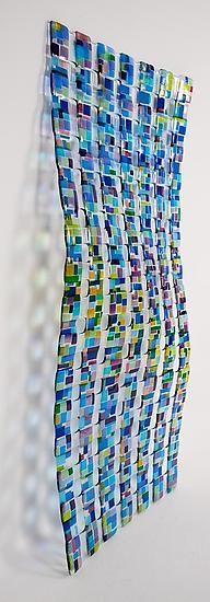 Retro Mesh Wall Sculpture in Blue: Renato Foti: Art Glass Wall Art - Artful Home