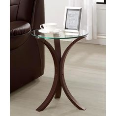 This Stylish table features glass top with brown base with three curvy legs design. With a perfect fit for a small space this glass top side table can go anywhere in your home. Includes: One Accent Table Only Chair Side Table, Sofa End Tables, Dining Table, Table Bases, Round Tables, Bedside Tables, Table Legs, Wood Table, Coffee Tables