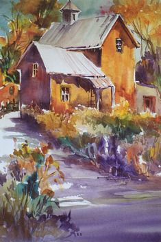 A fresh,autumn feeling with New Mexico enchantment are brought to live in this watercolor by JoBeth Gilliam.