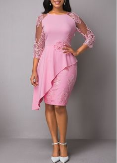 Wedding Guest Dresses Back Slit Lace Patchwork Overlay Dress Latest African Fashion Dresses, Women's Fashion Dresses, Dress Outfits, Slit Dress, Lace Dress, Sheath Dress, Dresses Online, Dresses For Sale, Necklines For Dresses