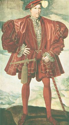 c1548 English nobleman wears a totally red outfit of satin or silk decorated with gold embroidery and aiglets. White undershirt with copious blackwork embroidery. Shoes are now higher on the foot, and the pantaloons are visible below the jerkin (which is shortening, before eventually turning into the doublet).