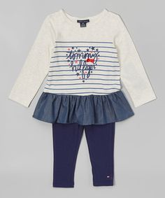 Look at this Tommy Hilfiger Ivory & Navy Heart Tunic & Leggings - Infant on #zulily today!
