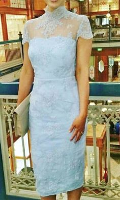 My Symphony Light Blue Sheer Lace Short Sleeve Mock Neck Midi Dress