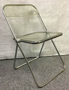 Vintage Original 1970s Plia Perspex Chrome Folding Chair Castelli Piretti Italy