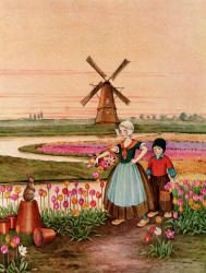 """From the story, """"Mina and Karl""""--  """"A little girl and a little boy were   coming towards him through the tulips. --""""Bunny and Brownie: The Adventures of George and Wiggle."""" (1930) Illustrated by Ida Rentoul Outhwaite"""