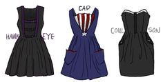 Seriously cute dresses inspired by costumes from The Avengers.