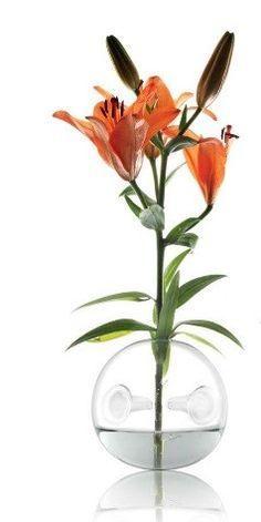 BOLA GRAND : Vase en forme de boule de cristal en pyrex,avec des creux qui servent de support à la tige de facon à maintenir de manière surprenante la verticalité de la fleur sans besoin  de goulot pour le vase .