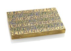 LINE VAUTRIN (1913-1997)'D'UNE VAGUEUSE MER', A BOX, 1940-1945enamelled and gilt-bronze½ in. (1.2 cm.); 12 cm. 4¾ in. (12 cm.); 3⅛ in. (8 cm.)stamped LINE VAUTRIN