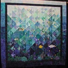 "Coral Gardens, Maui - 2003- 61"" x 60"" - Original design based on simple ""Fish"" pieced block"