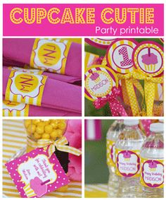 baby girl first birthday cupcakes printables