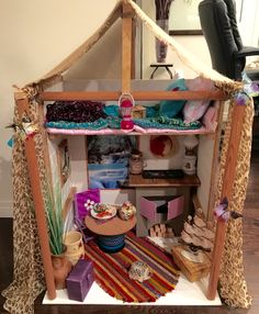 We made Lea's Rainforest House this weekend! Lea Clark American Girl, American Girl House, American Girl Crafts, Doll Crafts, Diy Doll, Girl Doll Clothes, Girl Dolls, Ag Dolls, Lps