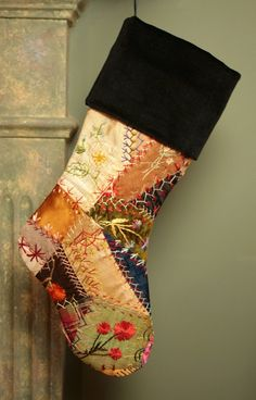 Lovely Antique 1880s Silk and Velvet Crazy Quilt Christmas Stocking