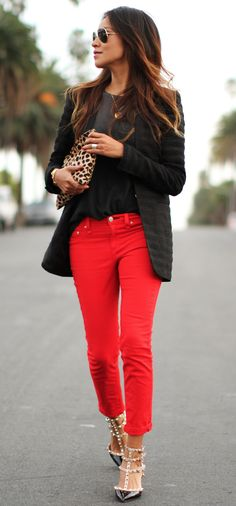 Love this look. The pants are a great pop and the shoes are amazing.
