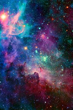 This is the Carina Nebula, an interstellar cloud of dust, hydrogen, helium and other ionized gases. It lies within our own Milky Way galaxy, about 6,500-10,000 light-years from Earth.
