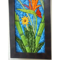Cuadros En Patchwork Sin Agujas Ave Del Paraiso $ 190000 - franklin Intarsia Woodworking, Landscape Quilts, Arte Popular, Wool Applique, Van Gogh, Minion, Quilt Patterns, Projects To Try, Patches