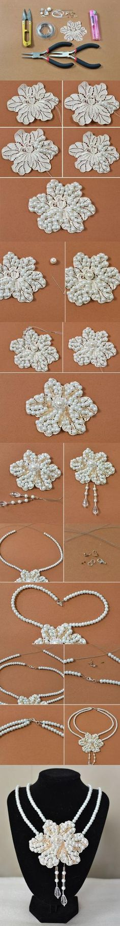 Pandahall Tutorial on How to Make a Two Strand Pearl Flower Necklace from LC.Pandahall.com | Jewelry Making Tutorials & Tips 2 | Pinterest by Jersica