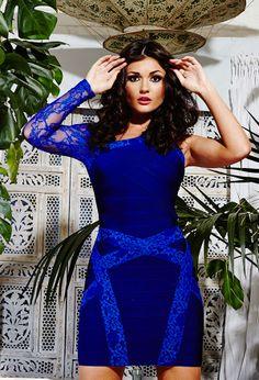 Blue One-sholder Lace Long Sleeve Sexy Bandage Dress