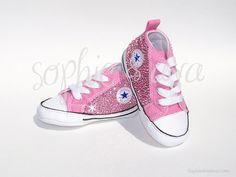 Custom pink baby Converse Sneakers in Rose  Swarovski crystal shoes hand embellished by Sophie & Ava (SophieAndAva.com)