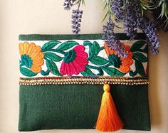 Faux Leather Clutch Ethnic Clutch Bohemian Bag by BOHOCHICBYDAMLA