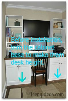 Make sure to trim cabinet bases so they are desk height