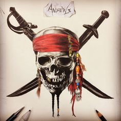 "Pirati dei Caraibi ☠️⚔️ ""Teschio Logo"" Carboncino e colori a matita✏️"