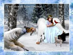 Forest Animals Christmas Wallpaper | ANGELS CHRISTMAS, ANGEL, ANIMALS, CHRISTMAS, FOREST, SNOW, WINTER