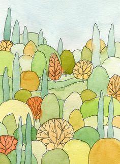 Perfect Landscape Art Postcard of watercolor painting Watercolor Postcard, Postcard Art, Watercolor And Ink, Watercolor Paintings, Watercolor Trees, Portrait Paintings, Acrylic Paintings, Art Paintings, Portrait Watercolour