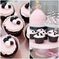 cupcakes for Paris Party - gorgeous cupcake toppers by @twosugarbabies