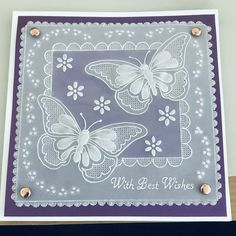 This lovely handcrafted parchment card is ideal for any female occasion and depicts two butterflies in whitework. It comes complete with envelope and cello bag and the middle insert is blank for your own message Butterfly Template, Butterfly Cards, Butterfly Dragon, Monarch Butterfly, Vellum Crafts, Parchment Design, Parchment Cards, Embossed Cards, Silk Ribbon Embroidery