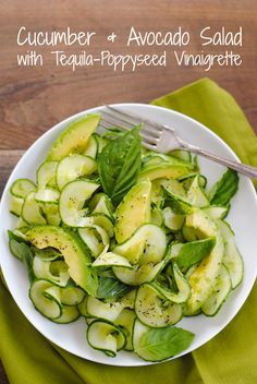 Cucumber & Avocado Salad with Tequila-Poppyseed Vinaigrette - A fresh, beautiful and healthy salad! | foxeslovelemons.com