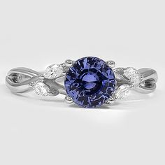 18K White Gold Sapphire Willow Diamond Ring // Set with a 6.5mm Round Blue Sapphire #BrilliantEarth