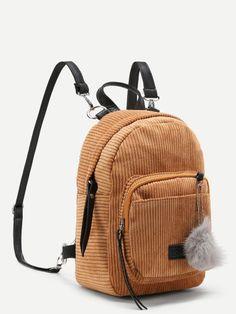 Pom Pom Decorated Corduroy Backpack -SheIn(Sheinside)