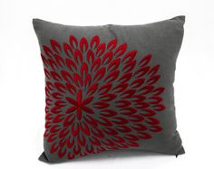 Red Floral Decorative Throw Pillow Cover, Dark Grey Linen Red Flower Embroidery, Holiday decors, Christmas Pillow, Red Cushion Cover