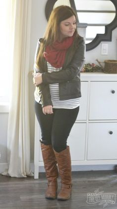Petite Curvy Mom Style: Moto jacket, burgundy scarf, striped tee, black jeggings, riding boots.