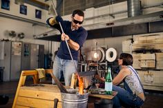 Amanda Notarianni and Charlie Macpherson, glass artists at Notarianni Glass in Poundbury in Dorset See more of The Artisans series as we showcase craftspeople in their workplaces Amanda, Artists, Glass, Hot, Pictures, Photos, Drinkware, Artist, Corning Glass