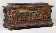 Cassone with the Conquest of Trebizond, 1460s  Marco del Buono Giamberti (Italian, Florentine, 1402–1489); Apollonio di Giovanni di Tomaso (Italian, Florentine, 1415/17–1465)  Tempera, gold, and silver on wood