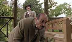 Poirot and Japp in, The Hollow. Agatha Christie's Poirot, Hercule Poirot, Detective, Death In The Clouds, David Suchet, Miss Marple, Crime Fiction, Filming Locations, Hercules