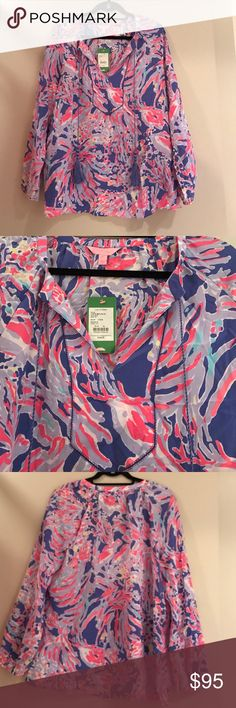 Lilly Pulitzer Saria Top Print: iris blue shrimply chic - BRAND NWT! Never worn! This top is BEAUTIFUL!! It has a gorgeous, cut out neckline with two tassels on the front. 100% silk, no snags or pulls. Lilly Pulitzer Tops
