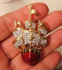 Red Gold Schooner Pin