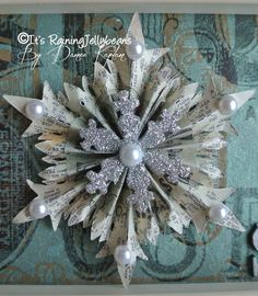 Snowflake wall art - Tim Holtz Snowflake and Sizzix dies - by Dianne Kaplan, Its Raining Jelly Beans.  Ornament idea?