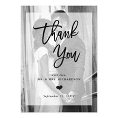 Modern Wedding Thank You | Photo with Overlay Magnetic Card - trendy gifts cool gift ideas customize